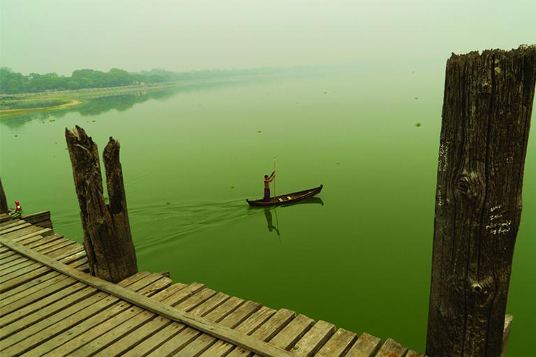 Myanmar - Fisherman at U Bein Bridge