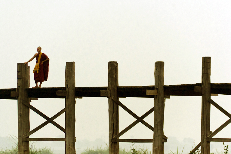 Myanmar - Monk on the U Bein Bridge